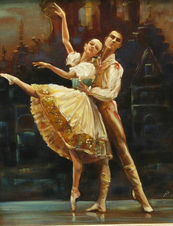 Dancers Art Print featuring the painting Coppelia by Podi Lawrence