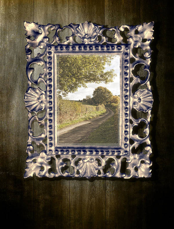 Gothic Art Print featuring the photograph Country Lane Reflected In Mirror by Amanda Elwell