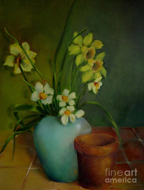 Greeting Card Art Print featuring the painting Daffodils          Copyrighted by Kathleen Hoekstra
