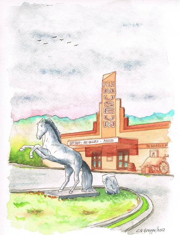Film Museum Art Print featuring the painting Film Museum In Lone Pine, California by Carlos G Groppa