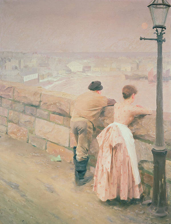 Lamp Post Print featuring the painting Fisherman St. Ives by Anders Leonard Zorn