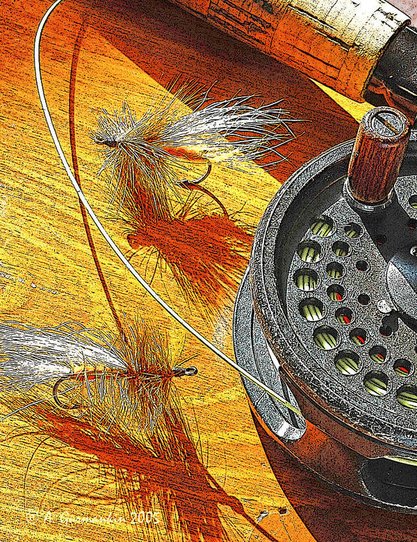 Fishing Art Print featuring the photograph Fly Fisherman's Table Digital Art by A Gurmankin