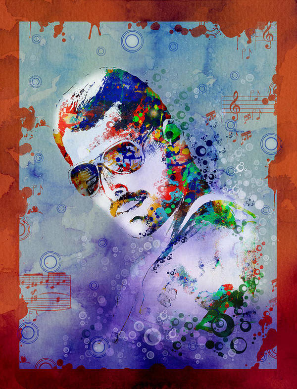 Freddie Mercury Art Print featuring the painting Freddie Mercury 12 by Bekim M