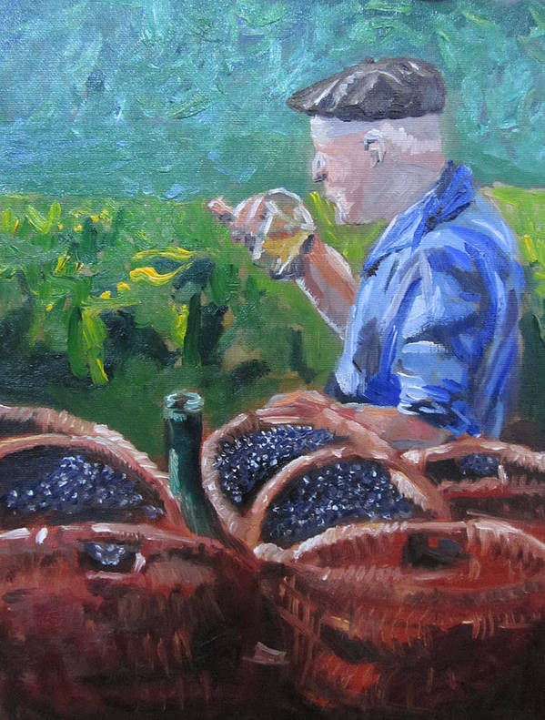 Landscape Art Print featuring the painting French Vineyard Worker by Kendal Greer