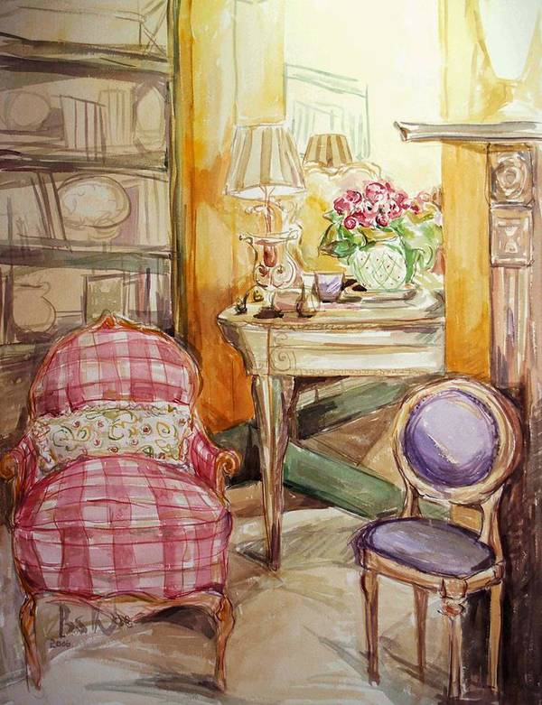 Floral Print featuring the painting Front Of The Mirror by Becky Kim