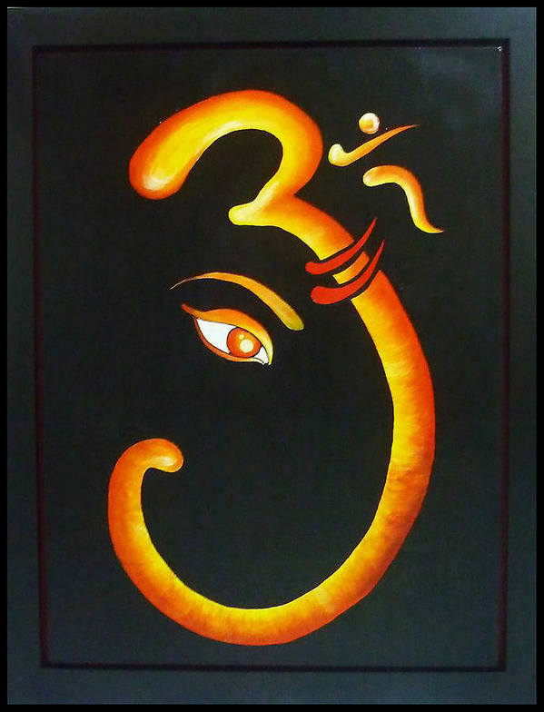 Ganesha Within Sanskrit Om Art Print By Sivaanan Balachandran