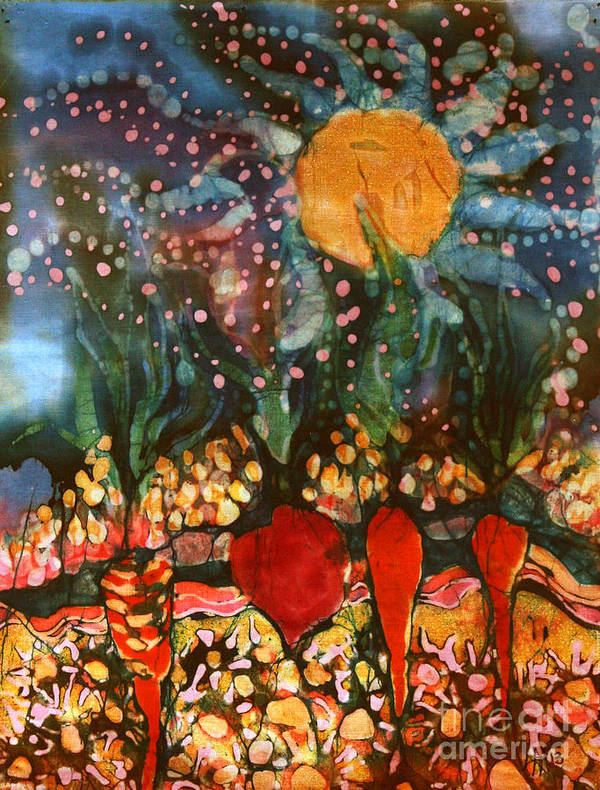 Vegetables Art Print featuring the tapestry - textile Garden In Moonlight by Carol Law Conklin