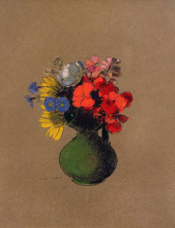Cornfloer Art Print featuring the pastel Geraniums And Flowers Of The Field by Odilon Redon