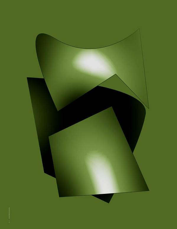 Green Art Print featuring the digital art Green Abstract Geometry by Mario Perez