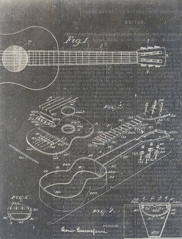 Guitar Art Print featuring the digital art Guitar Patent by Nick Pappas