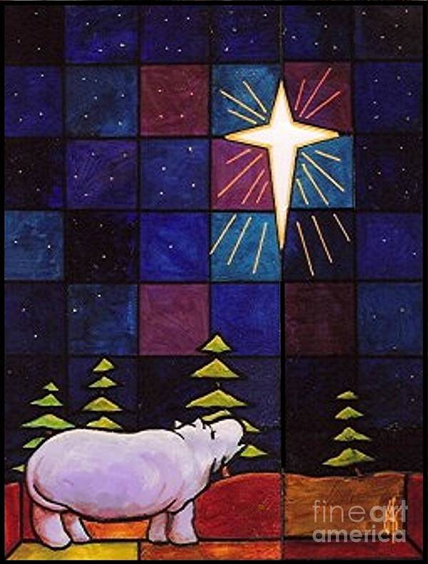 Christmas Art Print featuring the painting Hippo Awe And Wonder by Jim Harris