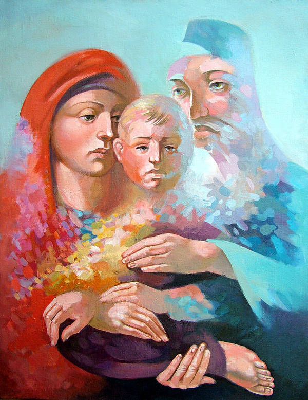Saint Mary Art Print featuring the painting Holy Family by Filip Mihail