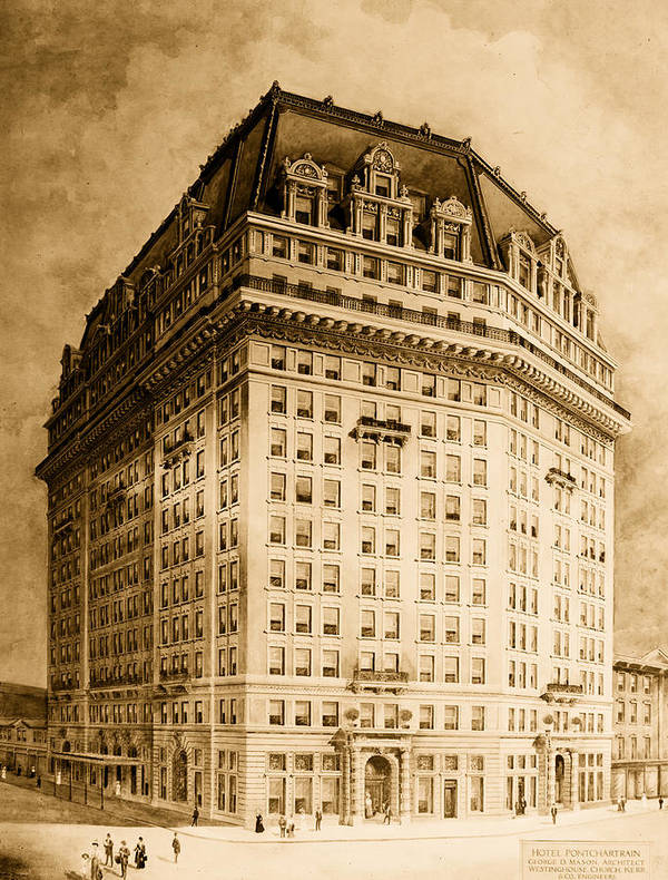 Architecture Print featuring the drawing Hotel Pontchartrain Detroit 1910 by Mountain Dreams