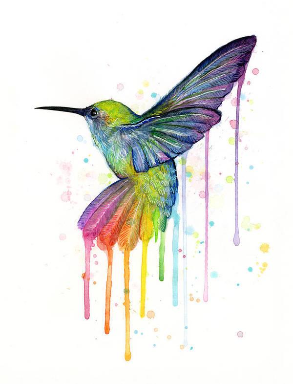 Hummingbird Art Print featuring the painting Hummingbird Of Watercolor Rainbow by Olga Shvartsur