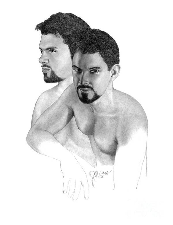 Pencil Drawing Print Art Print featuring the drawing Intense Stare by Joe Olivares