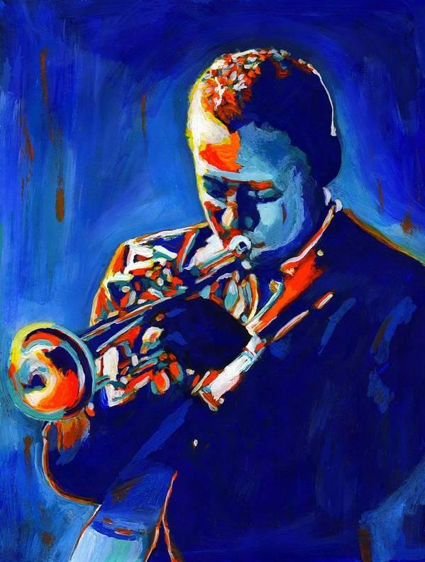 American Art Print featuring the painting Jazz Man Miles Davis by Vel Verrept