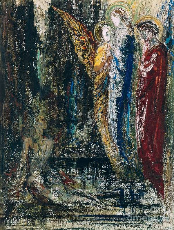 Job Et Les Anges; Angel; Hero; Tested By God; Suffering; Vision; Belief; Trust; Symbolist Print featuring the painting Job And The Angels by Gustave Moreau