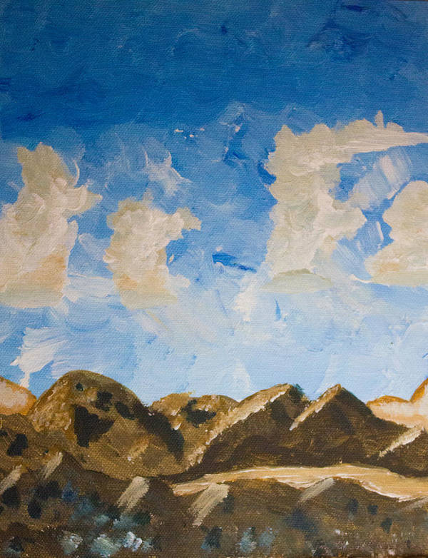 Jtnp Art Print featuring the painting Joshua Tree National Park And Summer Clouds by Carolina Liechtenstein