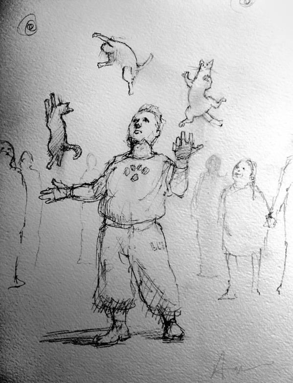 Juggler Art Print featuring the drawing Juggler by H James Hoff
