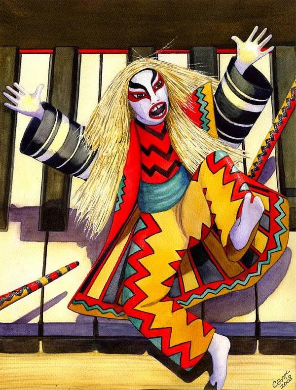 Kabuki Art Print featuring the painting Kabuki Chopsticks 3 by Catherine G McElroy