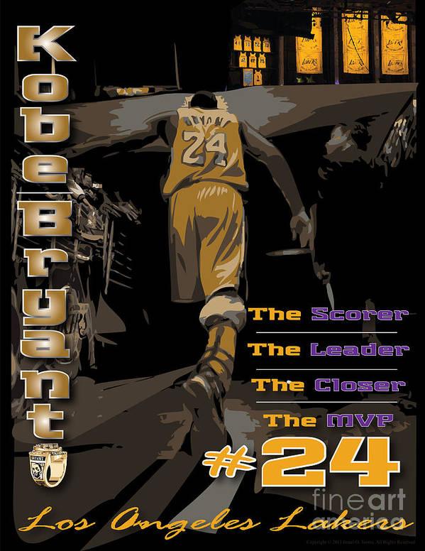 Kobe Bryant Art Print featuring the digital art Kobe Bryant Game Over by Israel Torres