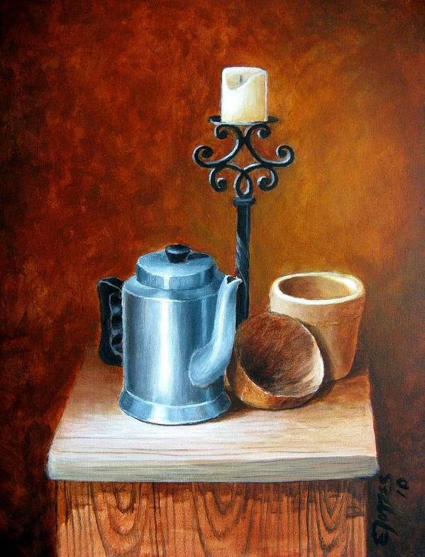 Acrylic Art Print featuring the painting La Cafetera by Edgar Torres