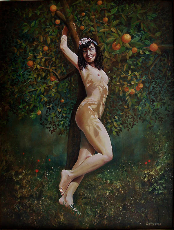 Nude Art Print featuring the painting Lala Entre Las Naranjas by Jo King