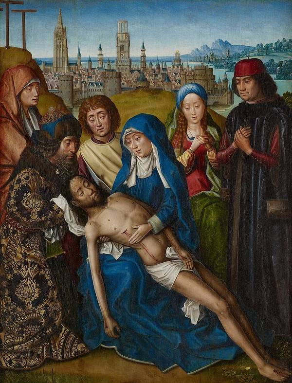 Jesus Art Print featuring the painting Lamentation With Saint John The Baptist And Saint Catherine Of Alexandria by Master of the Legend of Saint Lucy