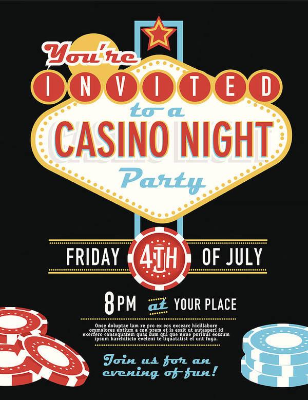 Las Vegas Sign Party And Casino Night Invitation Design Template Art