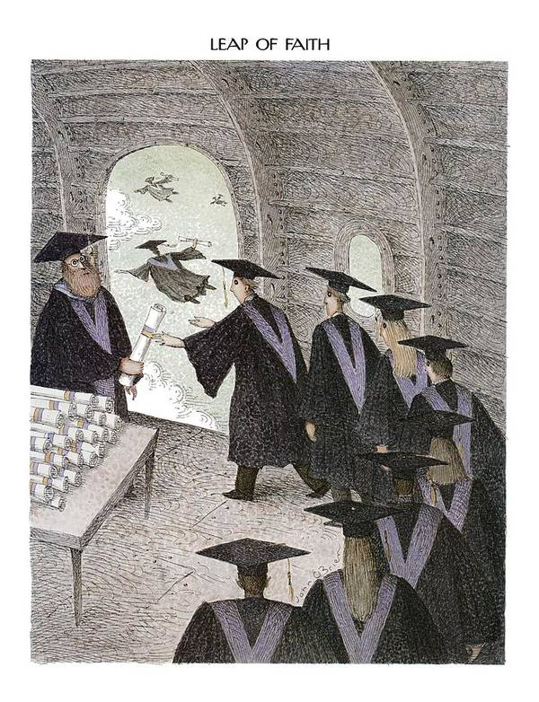 Leap Of Faith (college Graduates Receive Their Diplomas In Open Doorway Of Flying Airplane And Fly Out) Education Art Print featuring the drawing Leap Of Faith by John O'Brien