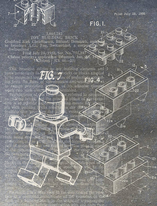 Lego Print featuring the digital art Lego Patent by Nick Pappas