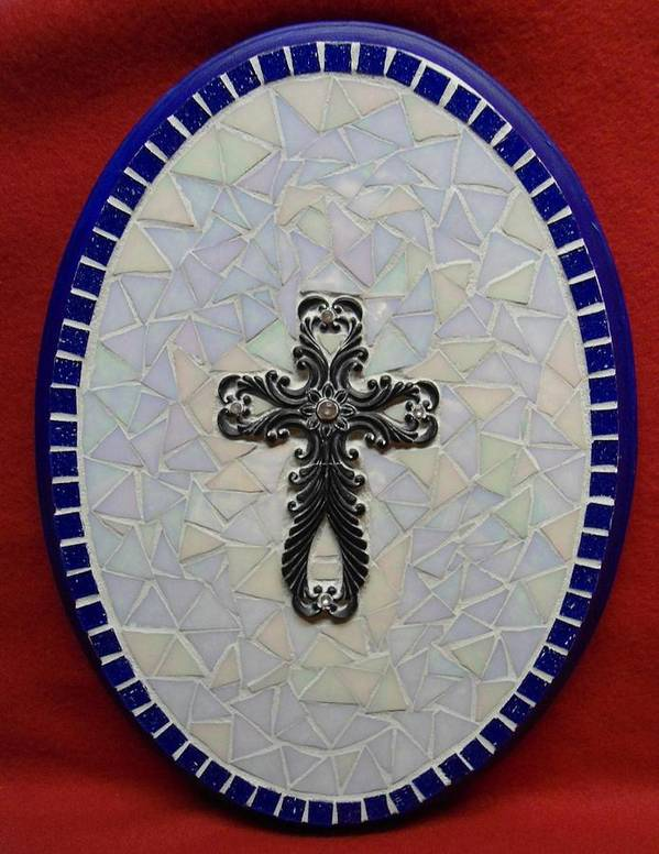 Medallion Art Print featuring the glass art Medallion With Cross by Fabiola Rodriguez