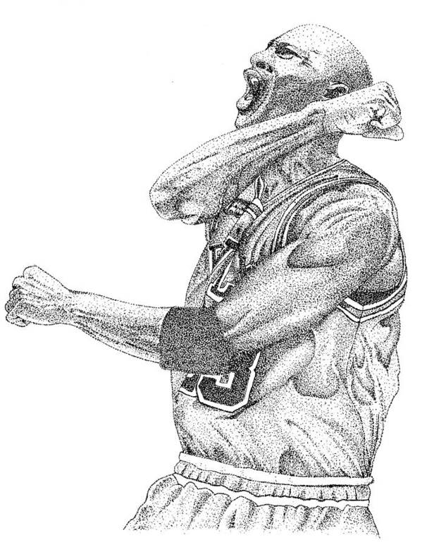 Michael Jordan Chicago Bulls Guard #23 23 Ink Pencil Stippling Dot Art Black And White Nba Finals Championship Greatest Ever Hall Of Fame14 Art Print featuring the drawing Michael Jordan by Joe Rozek