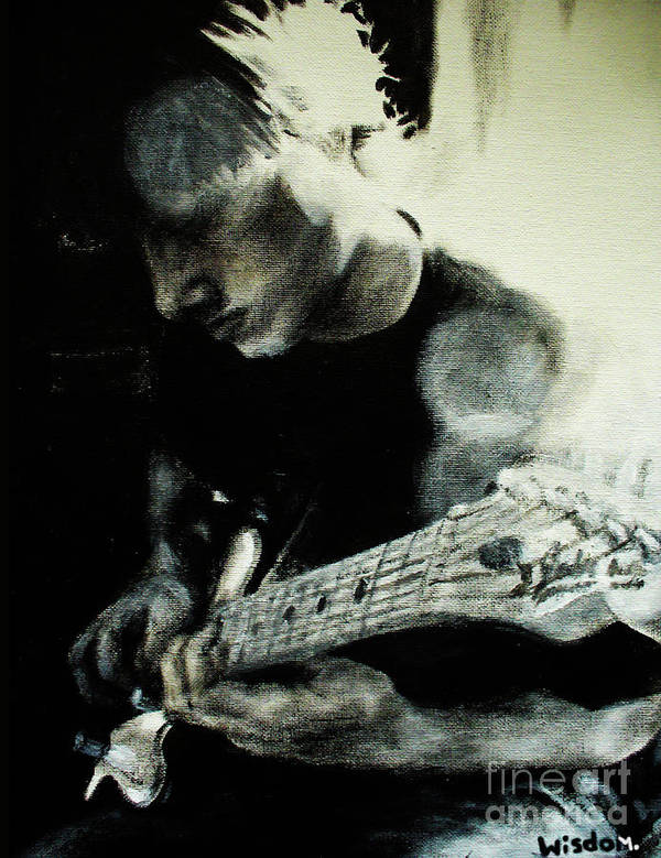 Portrait Art Print featuring the painting Mike And His Guitar by Tylir Wisdom
