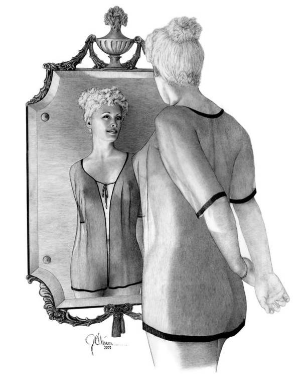 Pencil Drawing Print Art Print featuring the drawing Mirror Image by Joe Olivares