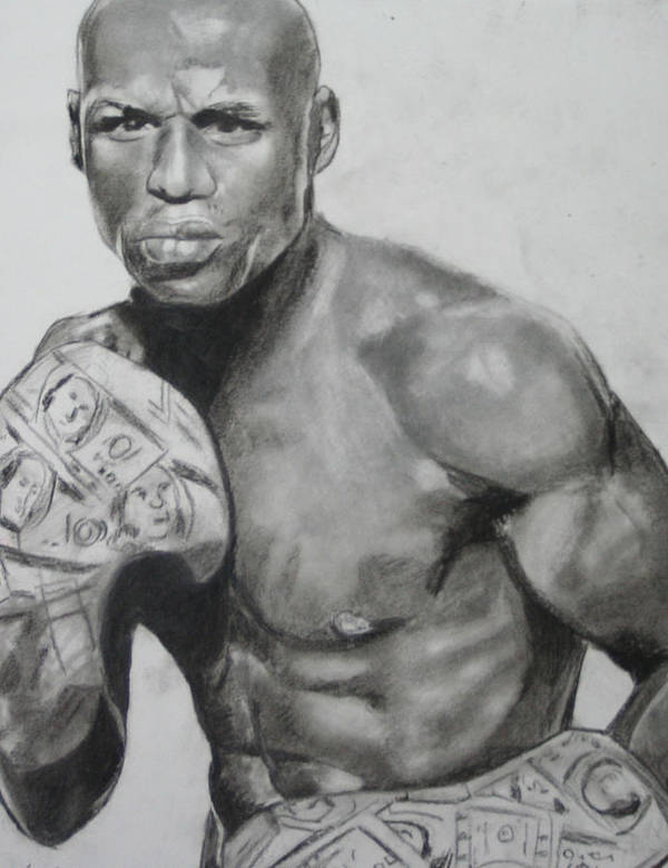 Floyd Mayweather Art Print featuring the drawing Money Mayweather by Aaron Balderas