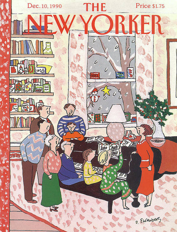 (a Family Gathers Around A Piano As They Sing Christmas Carols.) Entertainment Art Print featuring the painting New Yorker December 10th, 1990 by Devera Ehrenberg