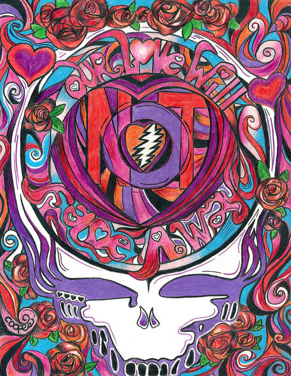 The Grateful Dead Print featuring the drawing Not Fade Away by Kevin J Cooper Artwork