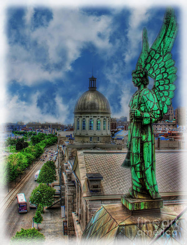 Canadian Art Print featuring the photograph Old Montreal Angel II by Lee Dos Santos