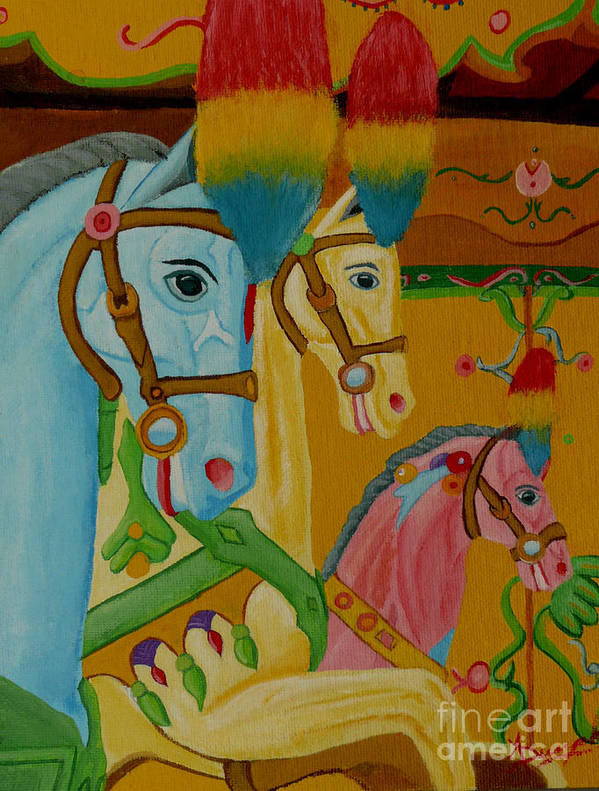 Carousel Art Print featuring the painting Painted Ponies by Anthony Dunphy
