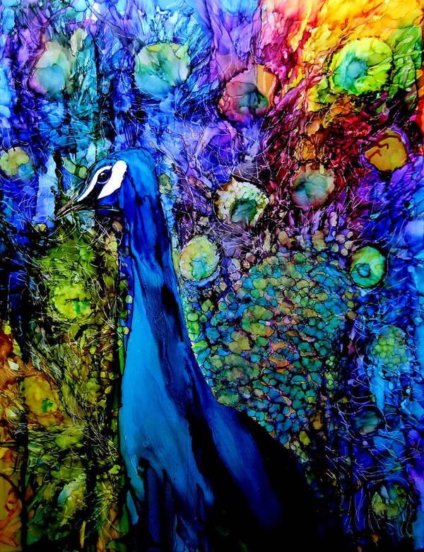 Ink Art Print featuring the painting Peacock II by Karen Walker