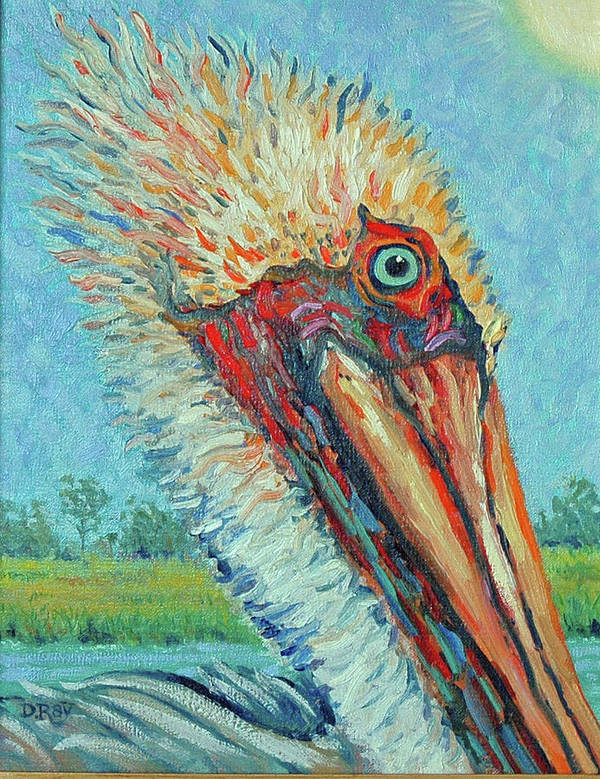 Pelican Art Print featuring the painting Pelican After Style Of Van Gogh by Dwain Ray