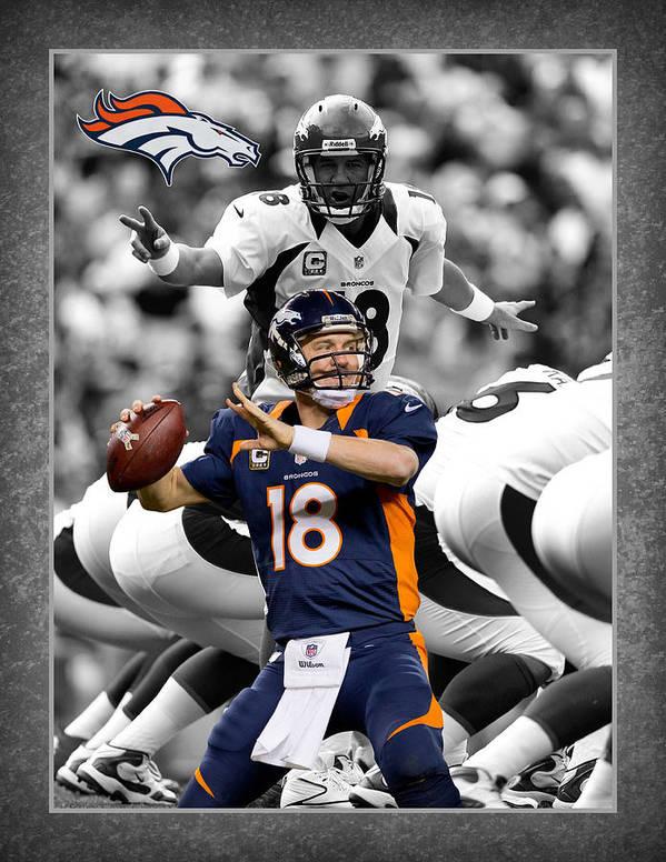 Peyton Manning Art Print featuring the photograph Peyton Manning Broncos by Joe Hamilton