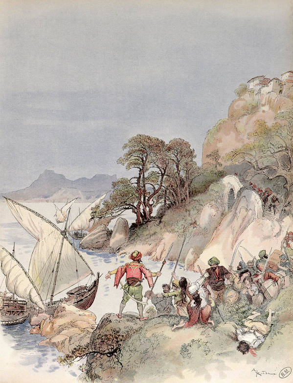 Terrorism Art Print featuring the painting Pirates From The Barbary Coast Capturin Gslaves On The Mediterranean Coast by Albert Robida