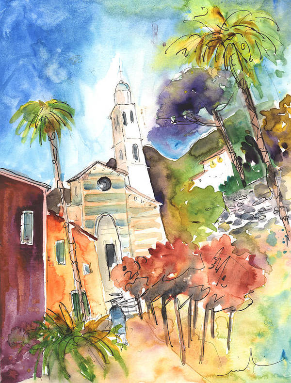 Italy Art Print featuring the painting Portofino In Italy 05 by Miki De Goodaboom