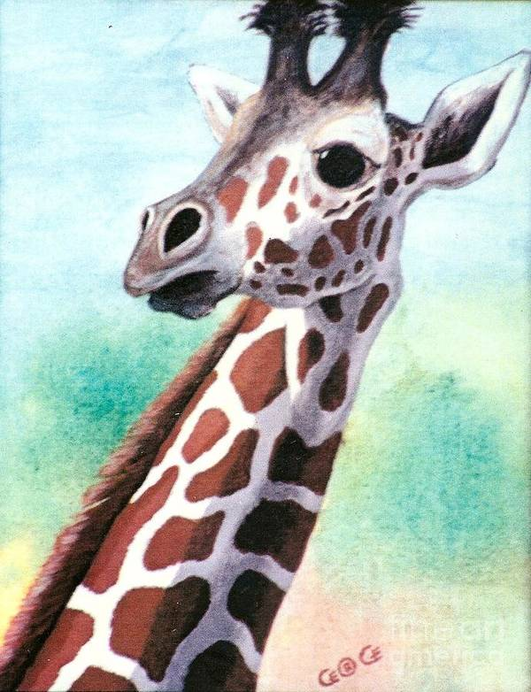 Giraffes Art Print featuring the painting Que Pasa by George I Perez