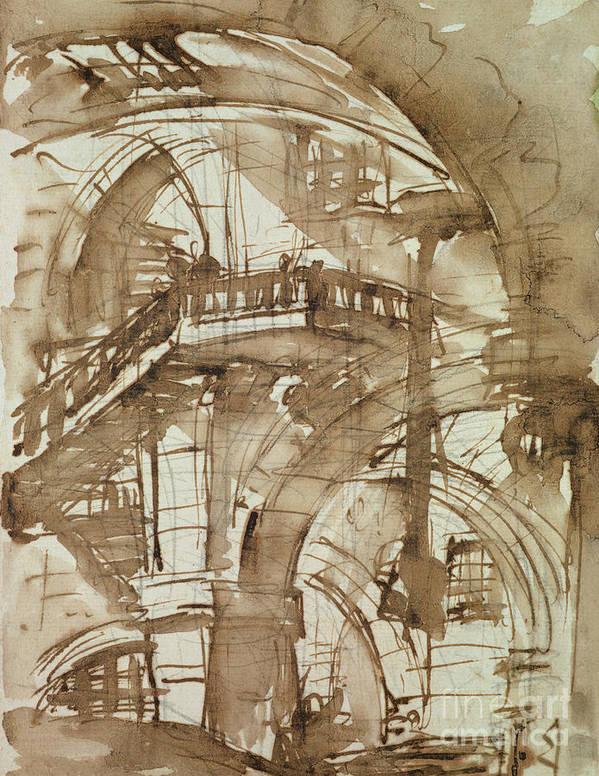 Romische Kerker; Incarceration; Gaol; Jail; Neoclassical; Barrel-vaulted Art Print featuring the drawing Roman Prison by Giovanni Battista Piranesi