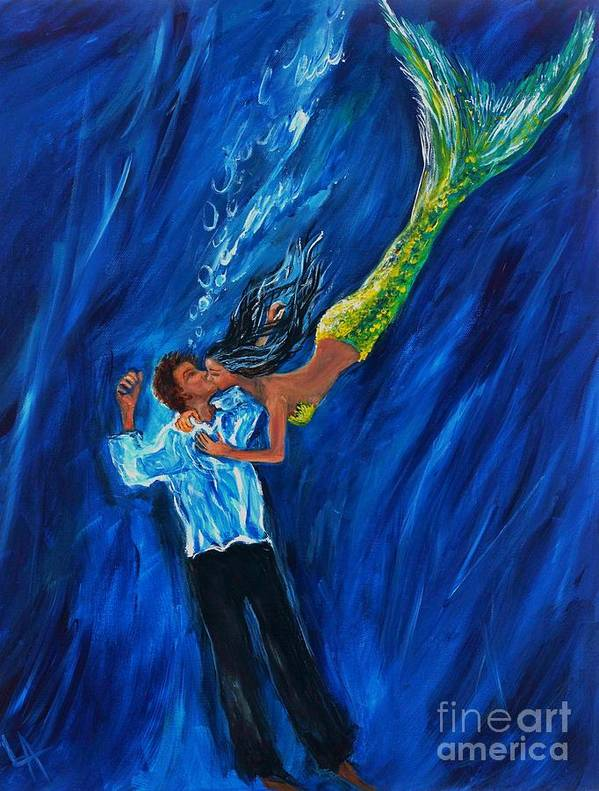 Mermaid Print featuring the painting Romantic Rescue by Leslie Allen