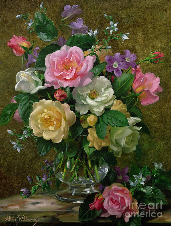 Still-life Art Print featuring the painting Roses In A Glass Vase by Albert Williams