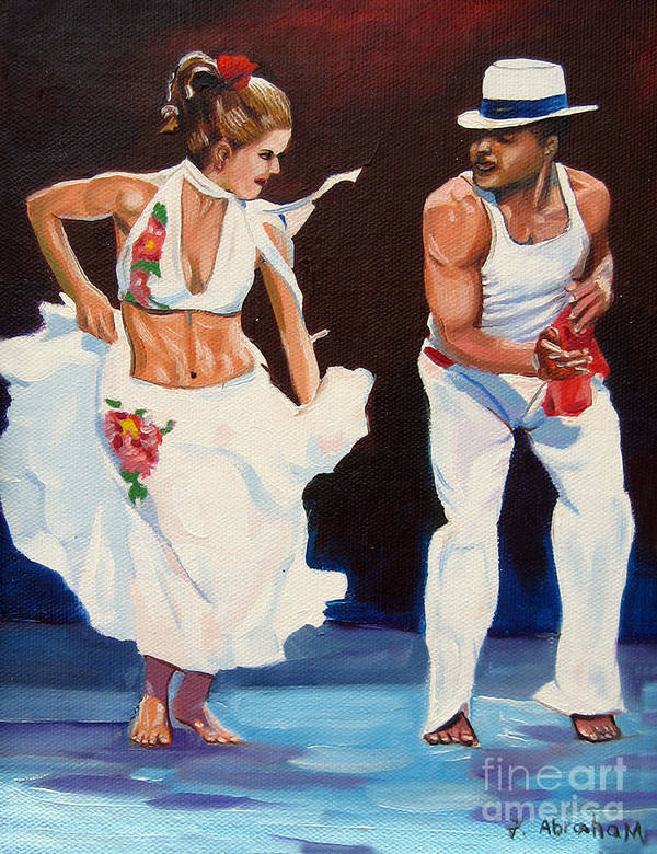 Dancing Art Print featuring the painting Salsa by Jose Manuel Abraham